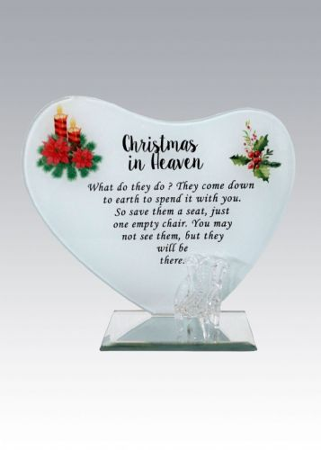 'Christmas in Heaven' glass heart plaque with glass chair.